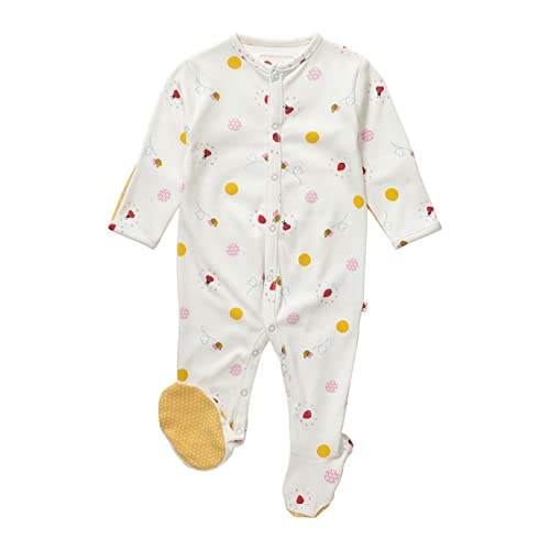 a5e28295 Piccalilly Organic Cotton Red and Yellow Baby Girls Ladybird Print Footed  Sleepsuit