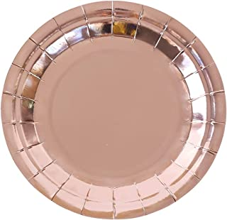 Rose Gold Party Paper Plates,7 inch Disposable Plates For Party, Holiday, Lunch, Dinner, Graduation, Wedding(48 Pcs) (Rose Gold, 7 inch)