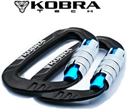 """Kobra Tech Strong Aluminum D Shape 12 KN, Lightweight Carabiner Clip 3"""" with Twist Auto Lock Gate for Hiking and Outdoor u..."""