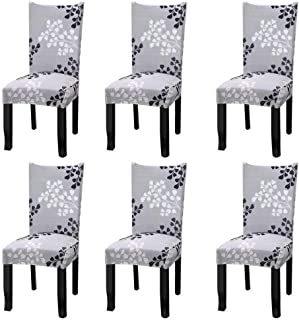 Fuloon Super Fit Stretch Jacquard Removable Washable Short Dining Chair Covers Seat Slipcover for Hotel,Dining Room,Ceremony,Banquet Wedding Party (6, Gray Pattern)