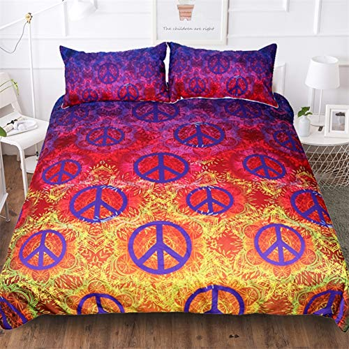 Teken van de Vrede Bed Reversable Quilt dekbedovertrek set Easy Care anti-allergische Soft & Smooth met kussenslopen,180x210cm