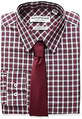 Nick Graham Men's Plaid Dress Shirt With Solid Tie