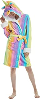 Adults Unicorn Robe Soft Flannel Plush Hooded Bathrobe Bathing Suits for Women Girls