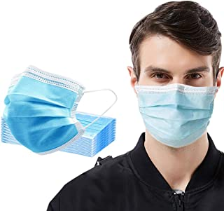 50 Pcs Face Masks Disposable, Breathable 3-Layer Safety Masks with Earloop for Adults & Children