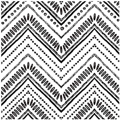 HaokHome 96022 1 Modern Circle Oval Stripe Peel and Stick Wallpaper Black White Vinyl Self Adhesive product image