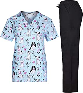 MedPro Women's Printed Medical Scrub Set V-Neck Top and Pants
