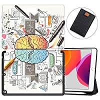 """MAITTAO New iPad 7th Generation 10.2"""" Case 2019 with Apple Pencil Holder, Shockproof Soft TPU Back Cover with Auto Sleep/Wake, Trifold Stand Smart Case Fit iPad 10.2 inch,Creative Brain 11"""