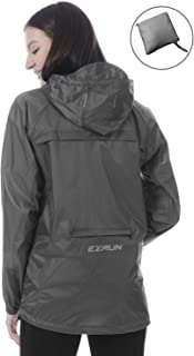 EZRUN Women's Waterproof Hooded Rain Jacket Windbreaker Lightweight Packable Rain Coats