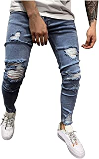 Kobay Hommes Pantalon Slim en Denim Stretch Pantalon en Jean Slim D/éChir/é D/éChir/é Et D/éChir/é