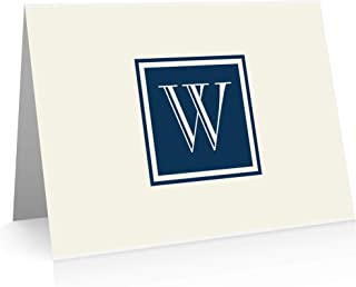 Monogram Stationery Note Cards (24 Foldover Cards and Envelopes) (W)