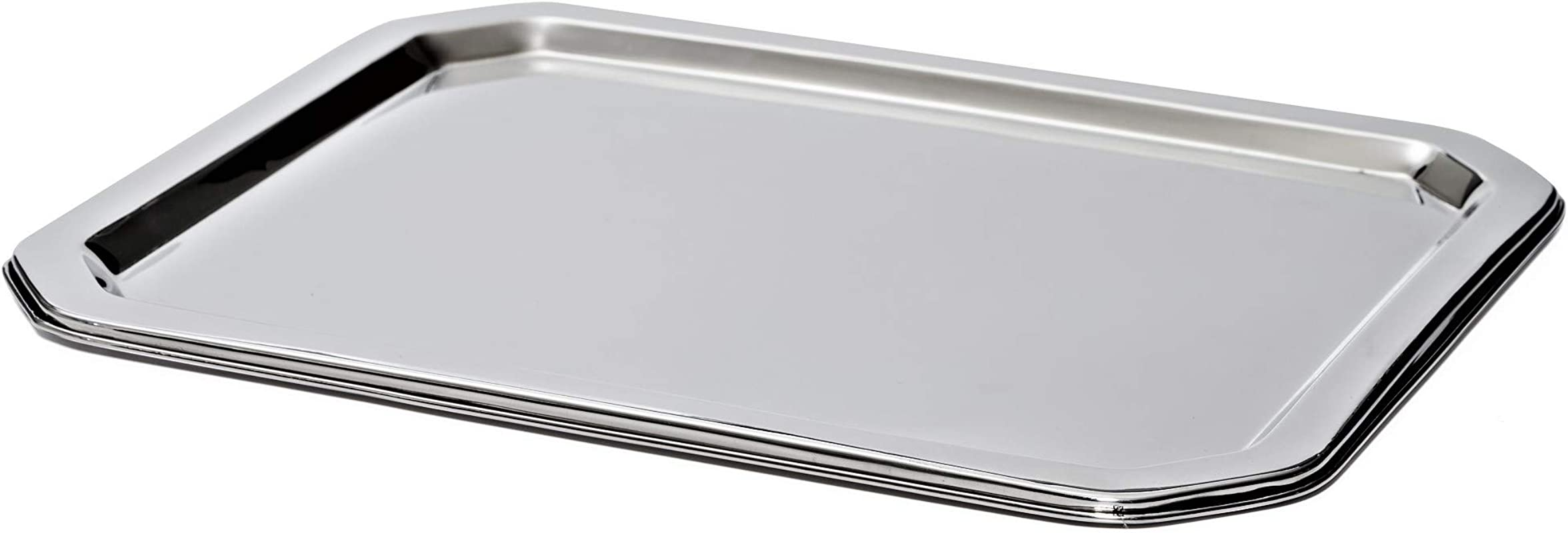 Bezrat Stainless Steel Food Serving Tray Rectangular Decorative Mirrored Serveware Platter Medium 15 X 12
