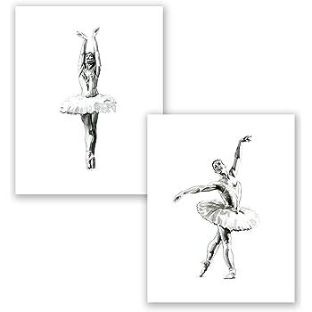 Cute Ballet Ballerina Modern Black /& White Nursery Print Kids Wall Art Picture