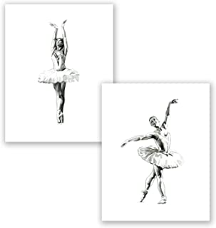 AtoZStudio A69 Ballerina Wall Art Decor Prints - Set of 2 Pictures - Ballet Position Cute Home Posters // Nursery Girl Room Women Girls // Watercolor Painting Artwork (8x10)