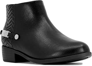 Kids Girls Ankle Bootie With Side Buckle and Zipper,...
