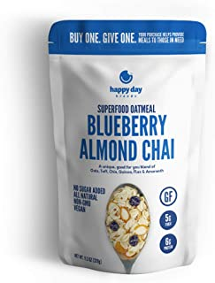 Happy Day Brands Superfood Oatmeal, Blueberry Almond Chai, 11.3oz Bag