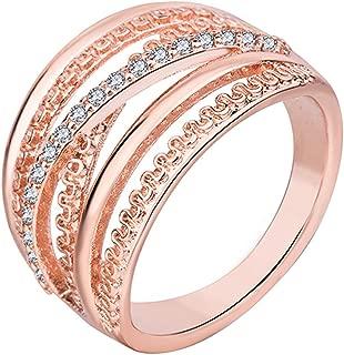 Women Sleek Minimalist Jewelry Rose Gold Multi-filament Ring