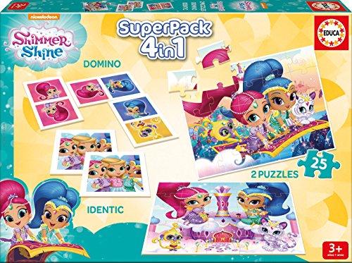 Educa Borrás- Shimmer&Shine Superpack 4 Juegos en 1 Shimmer and Shine Mesa, Multicolor (17714)