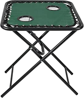 Sunnydaze Folding Sling Side Table with Mesh Drink Holders, Outdoor Patio or Portable Camping Accessory, Forest Green