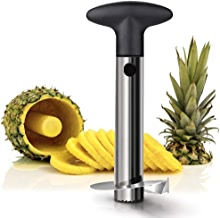 BUYERZONE Stainless Steel Pineapple Cutter and Fruit Peeler Slicer, Medium, Silver