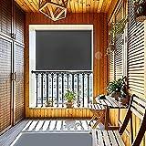 HENGMEI 140x140cm Tenda da Sole a Rullo Protezione dal Sole per Balcone e terrazza, Esterno Tende Verticali, Antracite