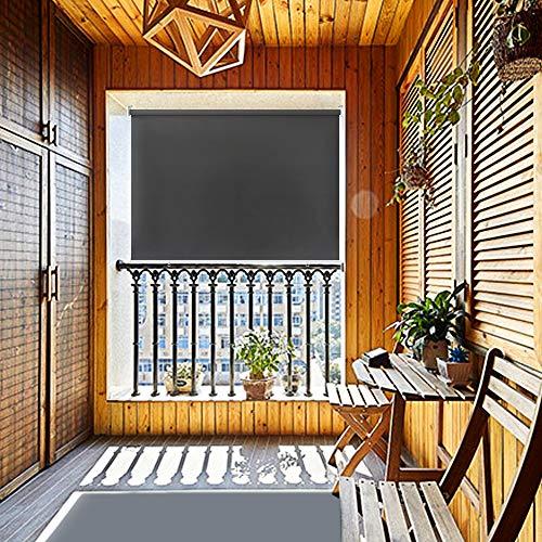 HENGMEI 140X140cm Balkon Sichtschutz Sonnenschutz Sichtschutzrollo Senkrechtmarkise Wasserdicht Windschutz vertikal Sonnensegel für Balkon Terrasse,Anthrazit