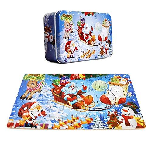 Elloapic 60 Piece Mini Jigsaw Puzzle Wooden Hard Paper Cartoon DIY Puzzle Toys Brain Teaser Educational Creative Toy Handmade Set for Children Christmas Xmas Santa Claus Jigsaw Puzzle