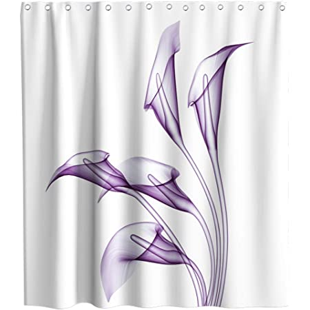 Common Callalily Shower Curtain Flourishing Calla Lilies Purple and White Fresh Spring Bouquet Gentle Nature Theme Cloth Fabric Bathroom Flower Decor Sets with Hooks Waterproof Washable 72 x 72 inches