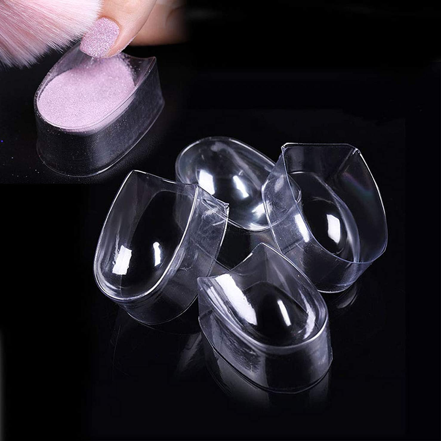 slQinjiansavネイルアート&ツール収納コンテナ5個透明ネイルチップディップパウダートレイ使い捨てマニキュアコンテナボックス