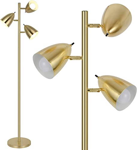 lowest Hykolity Industrial LED Reading and Floor Lamp for Living Rooms, Bedrooms, Mid Century Modern Adjustable 3 Light Floor Lamps, lowest Standing Tall Pole Lamp, wholesale Antique Brass/Gold, Bulb Sold Separately outlet sale
