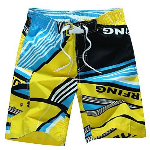NiSeng Homme Maillot De Bain Plage Board Shorts Loisirs Lâche Séchage Rapide Plage Surf Shorts Jaune 2XL