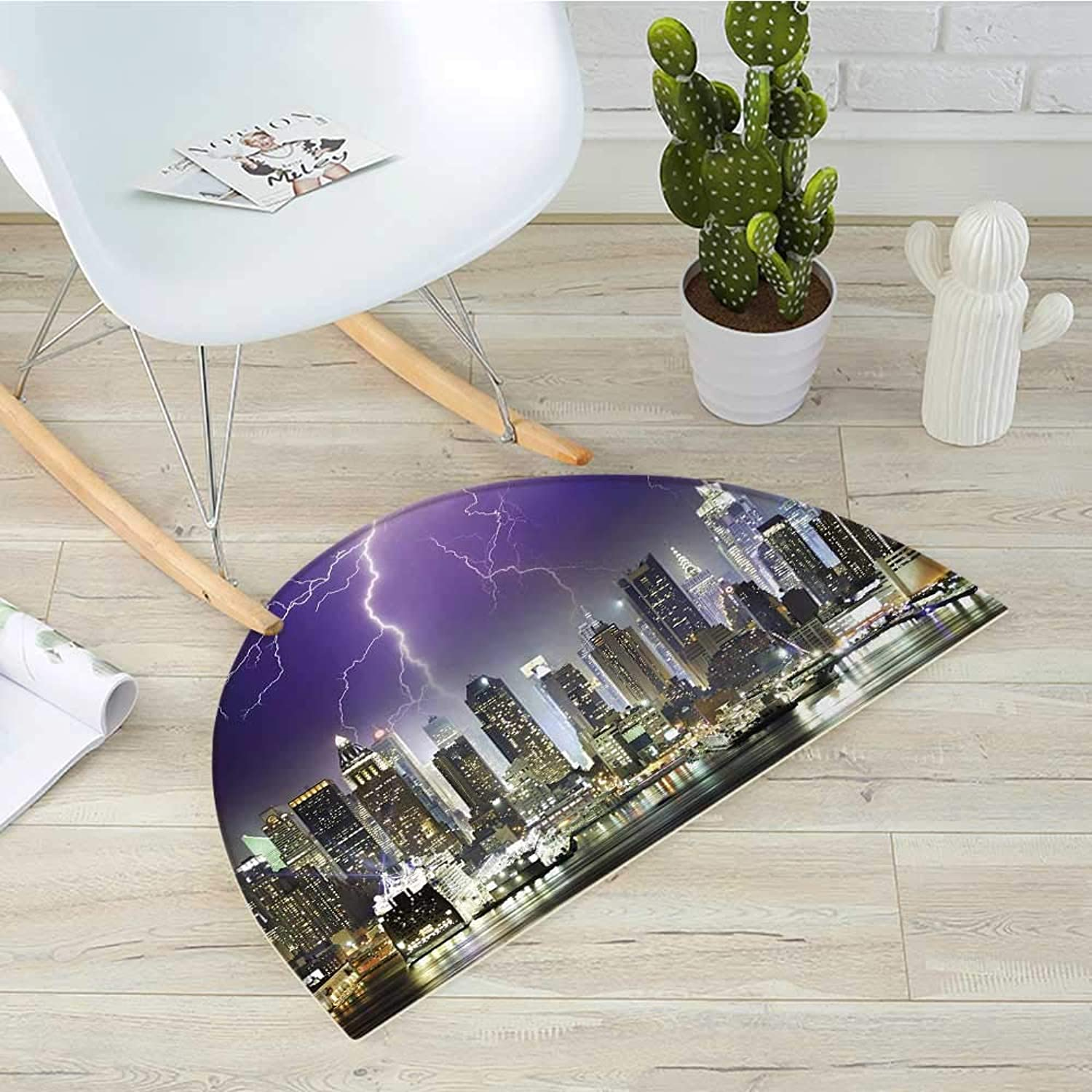 City Half Round Door mats Storm and Lightnings in Night York City Apocalyptic Dramatic Bathroom Mat H 35.4  xD 53.1  Indigo purplec Charcoal Grey