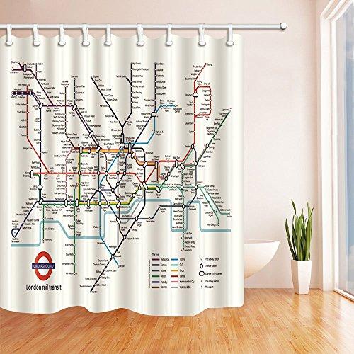 LRSJD Kaart Decor Stad metro van Londen Rail Transit Polyester Stof Waterdichte Bad Gordijn 71X71in Douche Gordijn Haken Inbegrepen