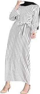 zhxinashu Women's Dress Long Skirt Stripe Robe Gowns Muslim Islamic Clothing