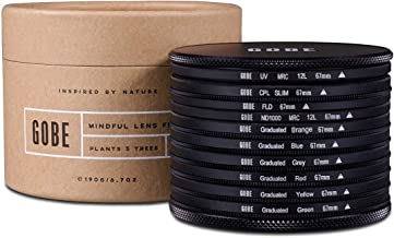 Gobe Filter Kit 67mm: UV, CPL Polarizer, FLD, ND1000 + Graduated Orange, Blue, Grey, Red, Yellow, Green