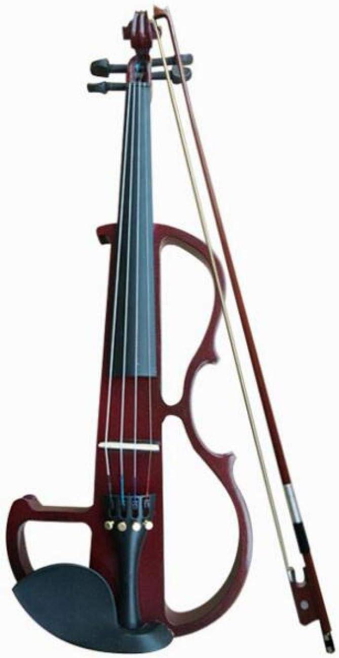 KEPOHK Cuerda de aleación de aluminio de panel de tilo de violín eléctrico de tamaño completo 4/4 con estuche para auriculares Línea de conexión de colofonia Winered