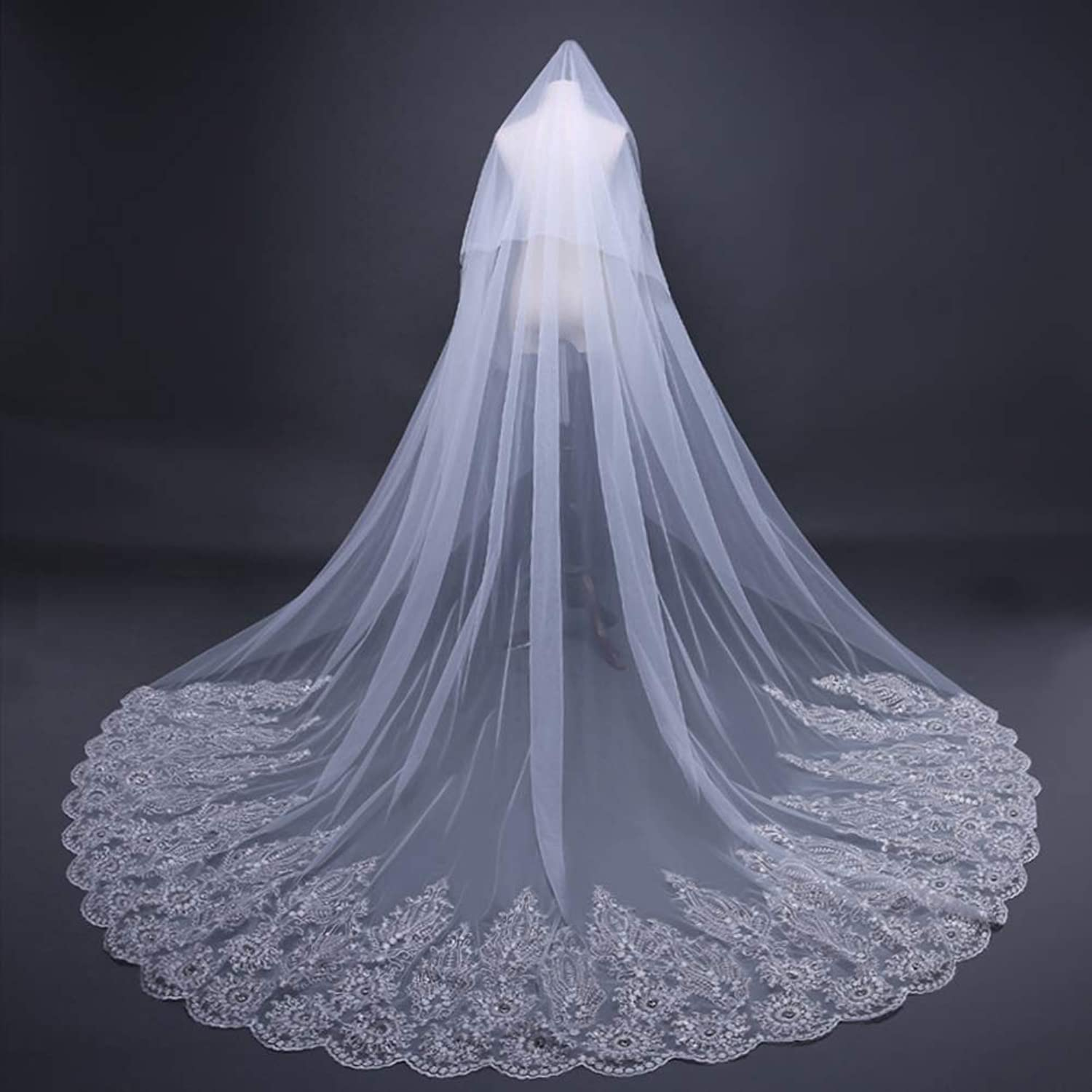 Bridal Wedding Veil,3M White Bridal Cathedral Comb Wedding Veil with Long Lace Edge Mosaic Glass Drill,Veil,3.8  3