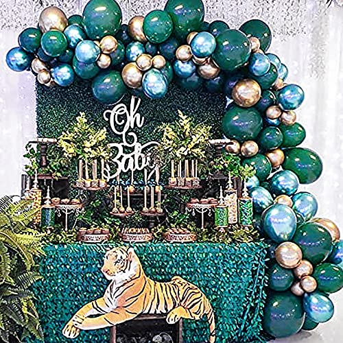 Captank Green Gold Balloons Garland Arch kit 70 Latex Dark Green Balloon Metallic Gold Balloon Green Jungle theme Party Decorate Kit: 16ft Balloon Strip Tape 100 Balloon Glue Dots for Adult Birthday Anniversary Christmas Picnic Party Decor