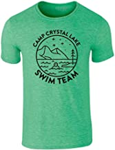 Pop Threads Camp Crystal Lake Swim Team Halloween Costume Graphic Tee T-Shirt for Men
