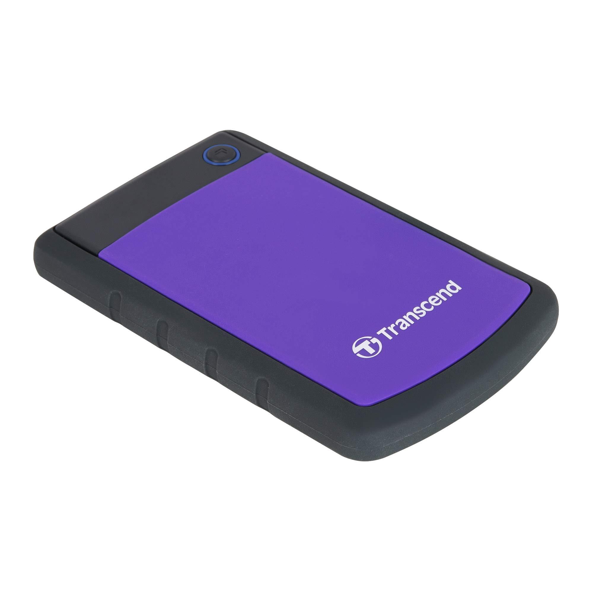Transcend Storejet 2TB Portable USB 3.0 Hard Disk (TS2TSJ25H3P), Purple