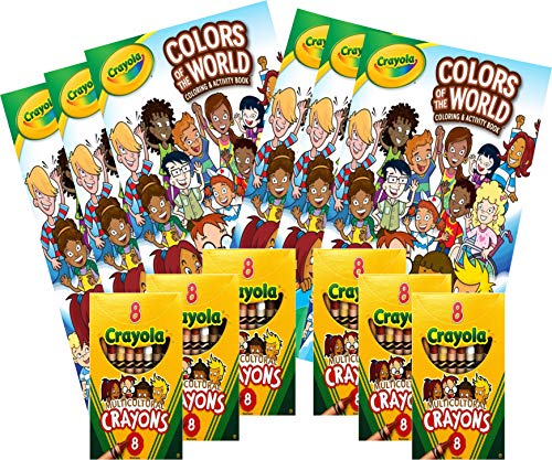 CRAYOLA - 6 sets of Colors of the World Coloring/Activity Book + 8pk Multicultural Crayons - Great for kids of all ages.