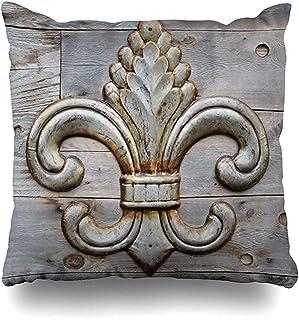 Snbin Funda de Almohada de Tiro Detalle de Funda de Almohada Fleurdelis de estaño Simbolizando Fleur Insignia de Hierro Vintage Funda de cojín con Cremallera