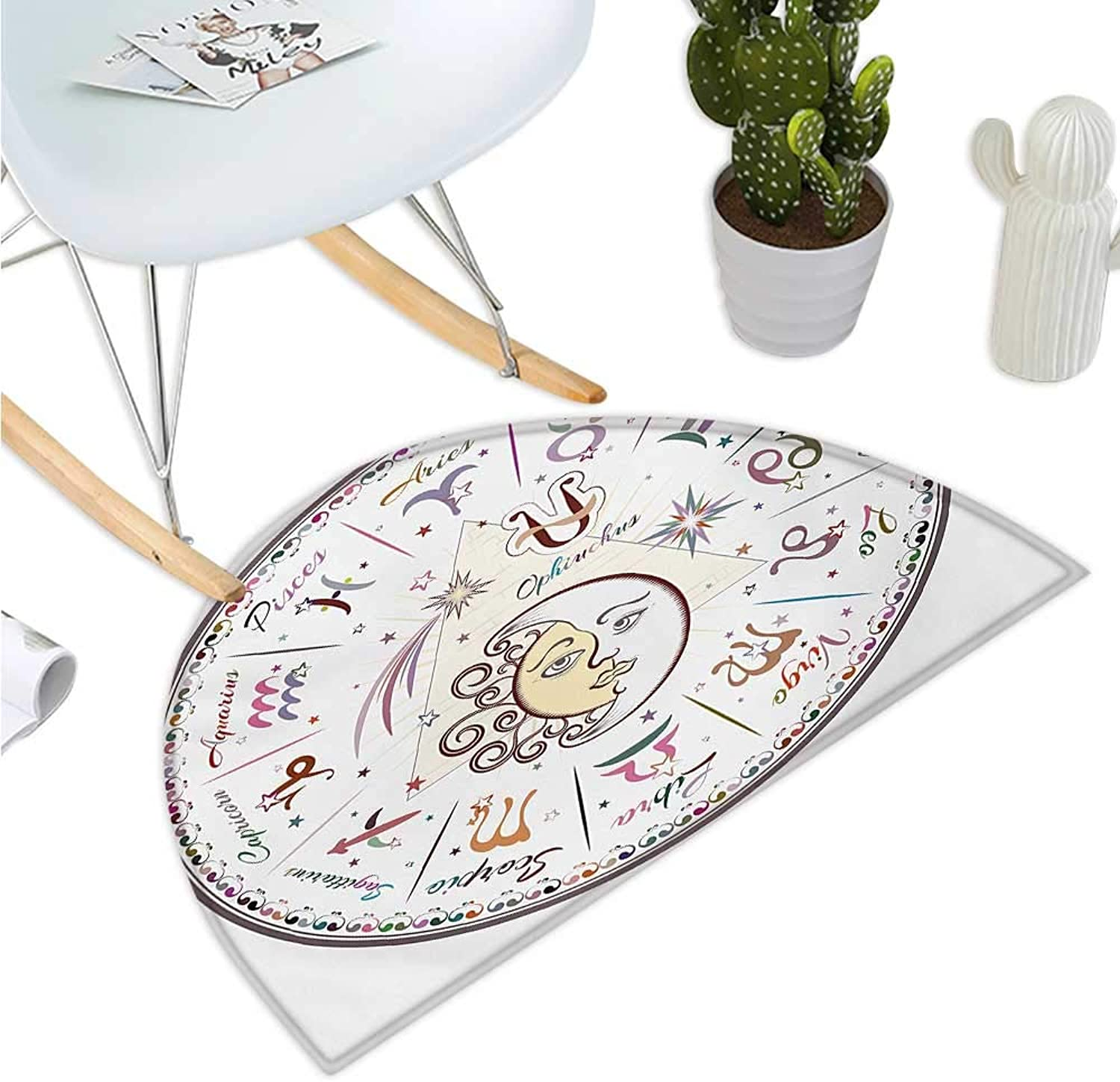 Zodiac Semicircle Doormat Western Chart with All Signs Aries Virgo Leo Taurus Libra Mystique Fate Calendar Entry Door Mat H 39.3  xD 59  Multicolor