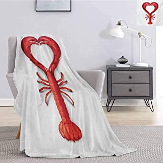 jecycleus Sea Animals Children's Blanket A Boiled Lobster Shaped as A Heart Symbol Seafood Love Valentines Restaurant Menu Art Lightweight Soft Warm and Comfortable W80 by L60 Inch Red