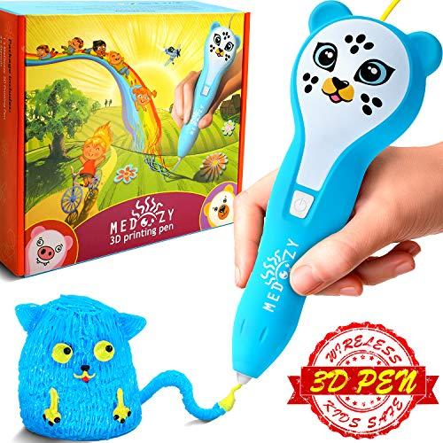 Stylo d'imprimante 3D MeDoozy - Cadeaux d'anniversaire parfaits pour filles & garçons - Jouets tendance pour enfants et adolescents - Meilleur Coffret de Fournitures Artistiques et Artisanales (bleu)