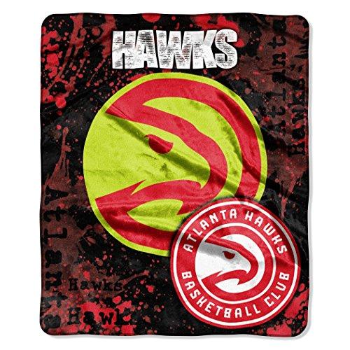 Officially Licensed NBA Atlanta Hawks Dropdown Plush Raschel Throw Blanket, 50' x 60', Multi Color