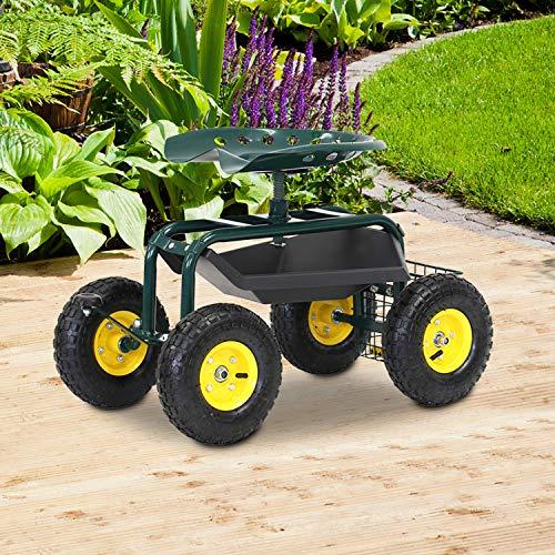 Kinbor Garden Cart Rolling Work Seat Gardening Planting with Heavy Duty Wheels Tool Tray Storage Basket