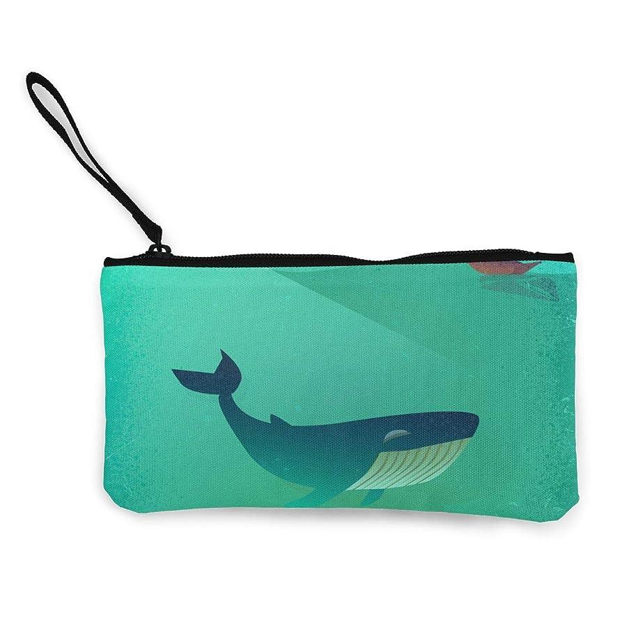 恐ろしいです垂直不良ErmiCo レディース 小銭入れ キャンバス財布 サメ 小遣い財布 財布 鍵 小物 充電器 収納 長財布 ファスナー付き 22×12cm