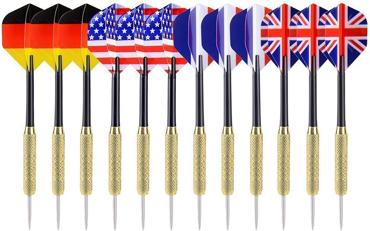 Maleap 12pcs 18inch Stylish & Fun Designs Tip Darts with four Styles National Flag Flights Stainless Steel Needle for Beginners
