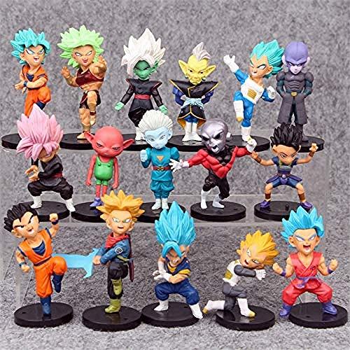 Yooped 16 unids/Set Dragon Ball Super Jouets Fils Goku/Gohan/Zen O/Jaco/Malles/MAI/Zamasu/Grand Prêtre/Figurines de Collection PVC Vegeta