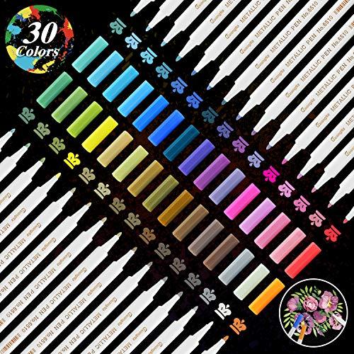 Metallic Marker, YITHINC 30 Farben Metallic Permanent Stifte für Scrapbooking, Geschenkkartenherstellung, Steinmalerei, schwarzes Papier, Stoff, Metall, Keramik, feine Glasfaser Spitze